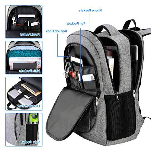 Travel Laptop Anti with USB and Headphone Interface, Backpack for Women,College School Computer Bag Fits 17 Inch Laptop Notebook-Grey