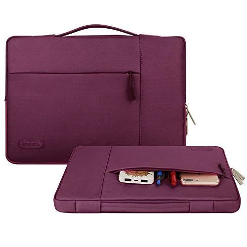 MOSISO Laptop Sleeve Briefcase Handbag Inch MacBook Pro, Polyester Fabric Multifunctional Case Bag Wine