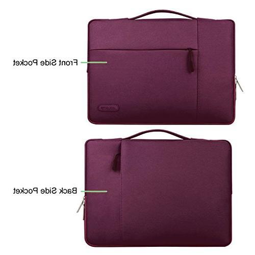 MOSISO Laptop Handbag Compatible 15-15.6 Inch MacBook Pro, Notebook Polyester Multifunctional Case Protective Bag Wine