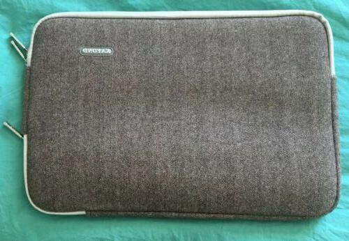 laptop sleeve notebook case herringbone brown 15