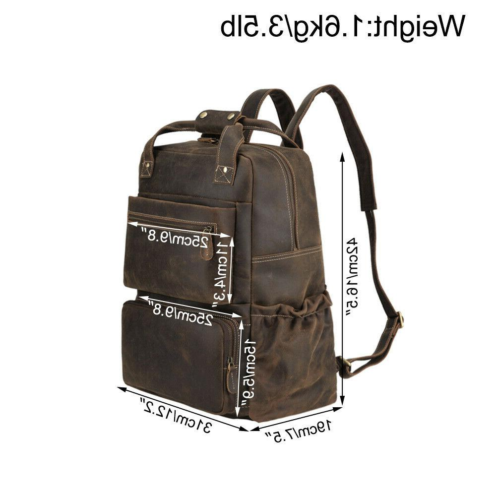 Men Leather Backpack Laptop School Travel Holiday Day Pack
