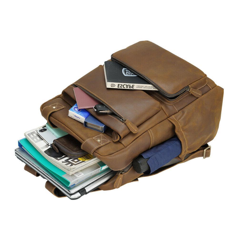 Men Leather Backpack Laptop Travel Bag Day Pack