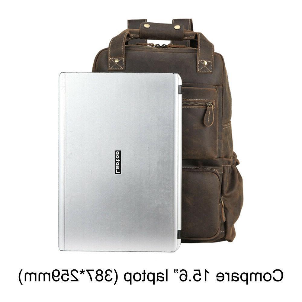 Men Leather Laptop Case Bag Travel Bag Day Pack