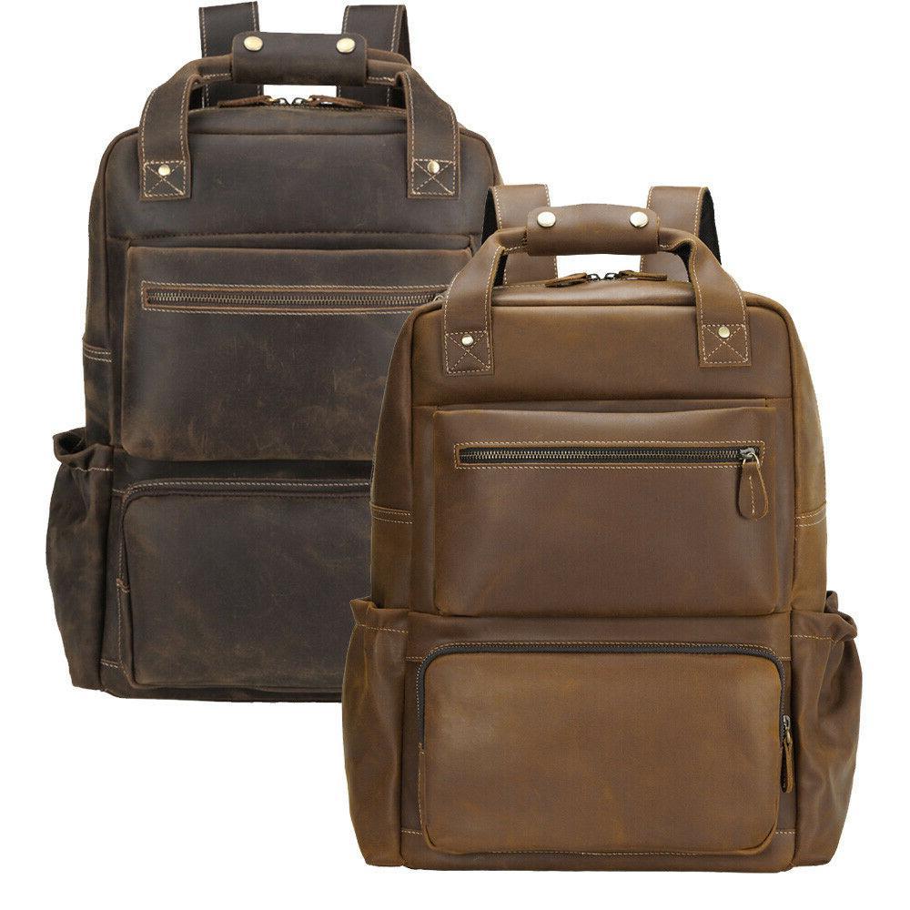 men leather backpack 16 laptop case school