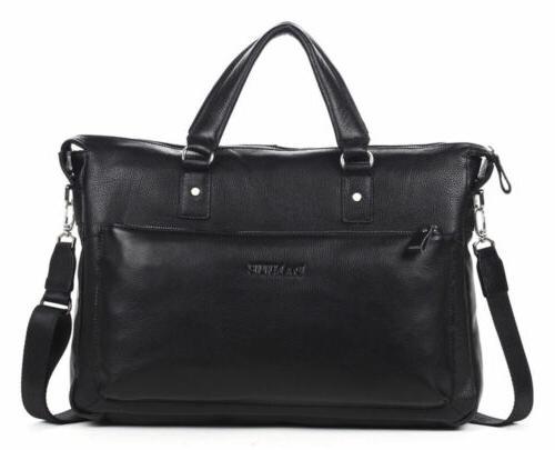 Men's Geniune Leather Briefcase Business Case Laptop Bag Mes