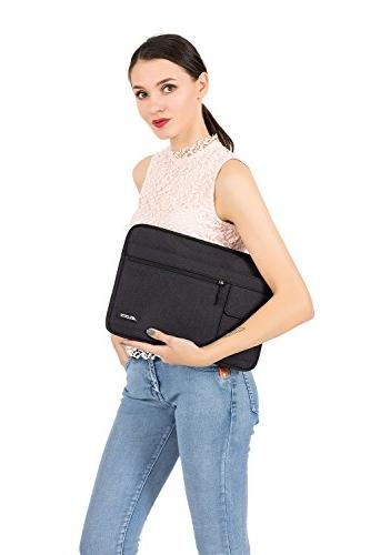 MOSISO Laptop Shoulder Compatible Pro Pro, Dell Chromebook Notebook Ultrabook, Polyester Flapover Case, Black