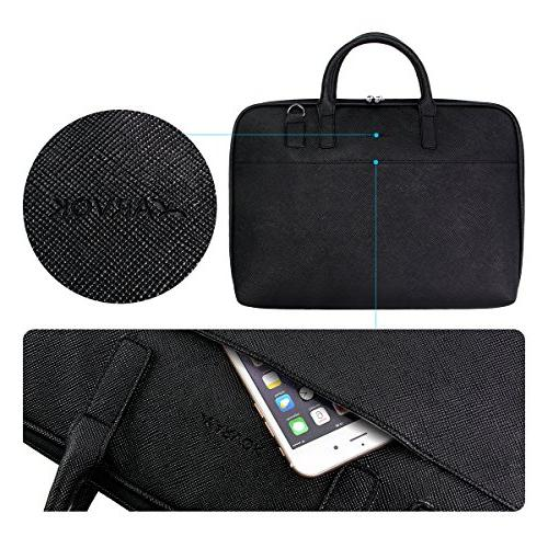 Arvok PU Leather Laptop Handle & Strap Water-Resistant Notebook Computer Briefcase Sleeve,