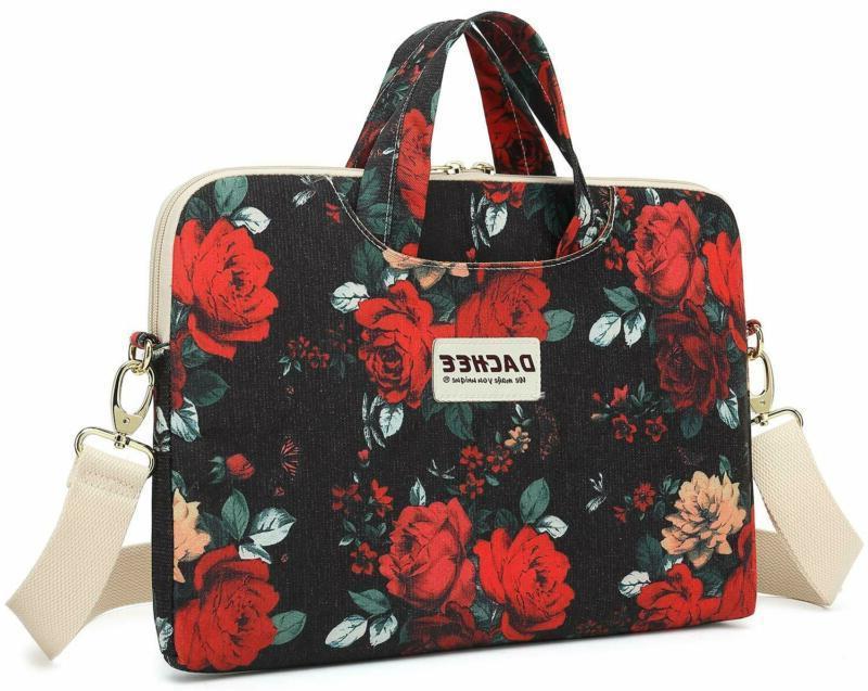 red rose patten waterproof laptop shoulder messenger