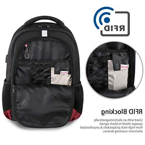 RFID Laptop Port, Anti-Theft Lightweight College Resistant Computer Bag for Women Men Fit 15.6 Inch