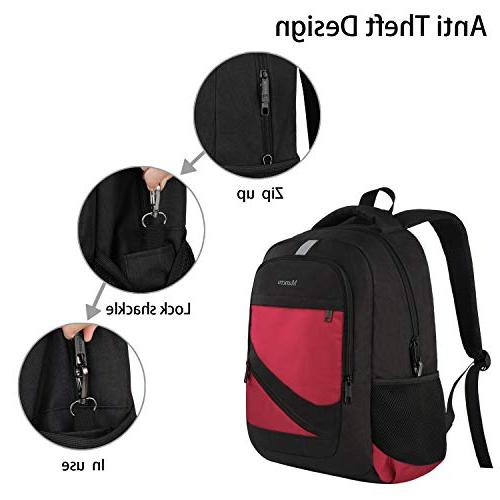 RFID Travel Laptop Backpack w/USB Charger Port, College Rucksack Resistant for Women Men 15.6 Inch