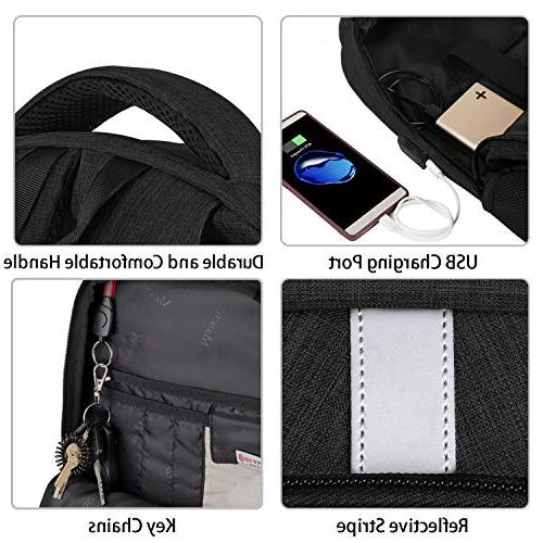 RFID Travel Laptop Backpack Charger Port, College Rucksack Resistant Tech for 15.6