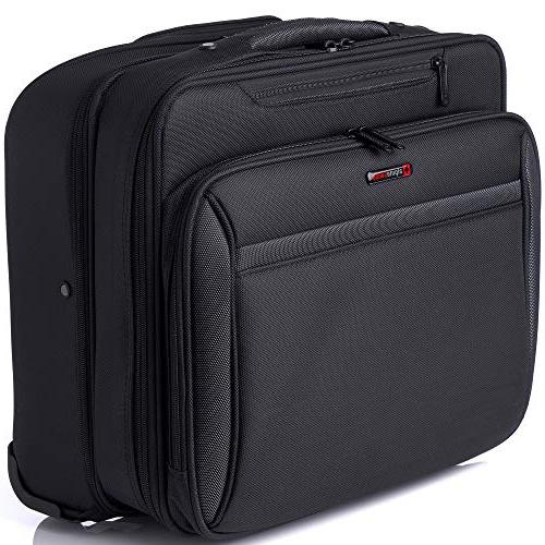 Alpine Rolling Briefcase Wheeled on Bag Up to 15.6 Carries Size Files
