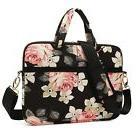 KAYOND Rose Patten Canvas Laptop Shoulder Messenger Bag Case