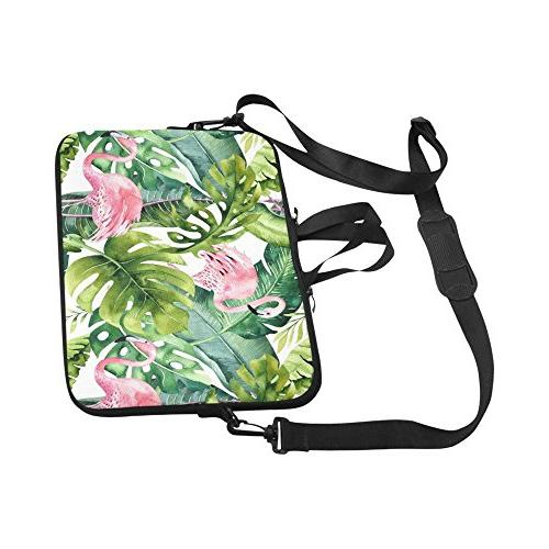 InterestPrint Watercolor and Greenery Palm Laptop Sleeve Shoulder Bag with Handle 17 17.3 for MacBook Dell HP Woman Man