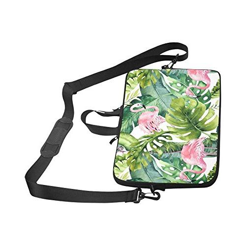 InterestPrint Flamingo Greenery Palm Tree Leave Laptop with Handle & Notebook Computer 17 17.3 Inch MacBook Dell Woman Man