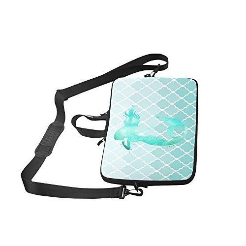 InterestPrint Watercolor Mermaid Silhouette with Waterproof Neoprene 15 Inch Laptop Shoulder Bag & HP Thinkpad Tablet