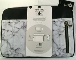 """TYPO Laptop Case 13"""" Sleeve Case White Marble Pocket Sleeve"""