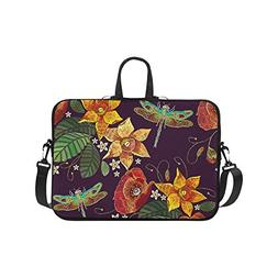 Laptop Sleeve Case 15 15.2 Inch Flowers And Dragonfly Resist