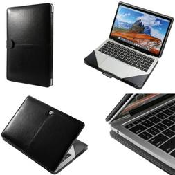Luxury Leather Laptop Book Folio Sleeve Case Bag For MacBook