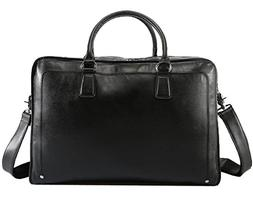 Polare Men's Real Soft Napa Leather 17.3'' Briefcase Laptop