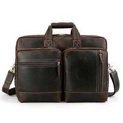 "Men Real Leather Briefcase 17"" Laptop Case Messenger Shoul"