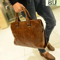 Men's Portfolio Business Case Briefcase PU Leather Shoulder