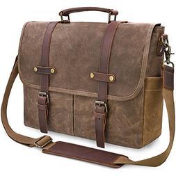 Mens Messenger Bag 15.6 Inch Waterproof Vintage Genuine Leat