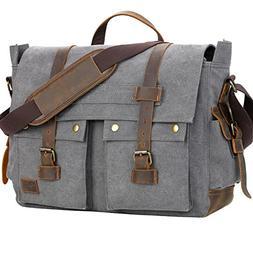 WOWBOX Messenger Bag for Men 17.3 inch Canvas Laptop Bag Boo