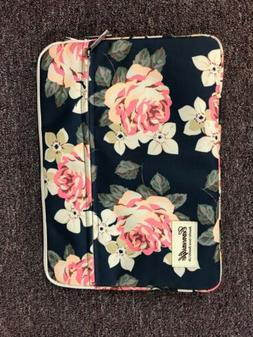 Navy Pink Rose Pattern 13.5 By 9.5 Canvas Laptop iPad Sleeve