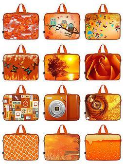Orange Laptop Computer Sleeve Case Bag w. Hidden Handle Fit