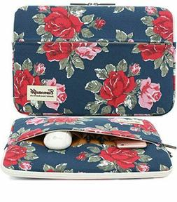 "Canvaslife - Peony Flowered Blue 13"" Canvas Laptop Case w/Zi"