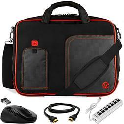 VanGoddy Pindar Red Trim Laptop Bag w/HDMI Cable, Mouse & US