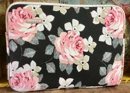 KAYOND Pink White Rose Pattern Black Canvas Laptop iPad Case
