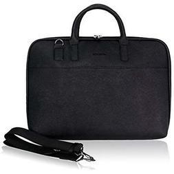 Arvok 13-14 Inch PU Leather Laptop Bag with Handle & Shoulde