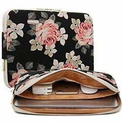 Black Rose Patten Canvas Water-resistant 14.1 Inch Laptop Sl