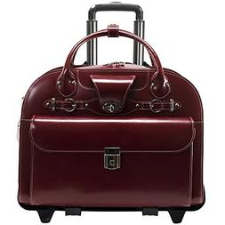 Removable Wheeled Laptop Briefcase, Leather, Mid-Size, Red -
