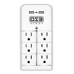 EZOPower Rotating Wall Mount Surge Protector Power Strip wi