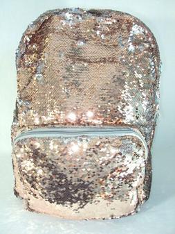 Sequin Backpack Laptop Case Large Tote Bag Rose Gold Flip Si