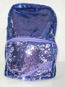 Sequin Backpack Laptop Case Large Tote Bag Purple Aqua Blue