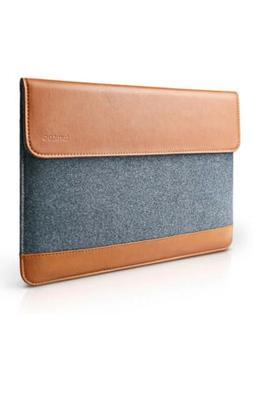 "tomtoc Slim 13"" Laptop Sleeve Case Felt & PU Leather Noteboo"