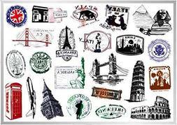 World Monument Landmarks Stickers 23pcsTravel Pyramid Sphinx