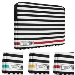 "VanGoddy Stripe Leather Laptop Sleeve Case Bag For 11"" -17"""