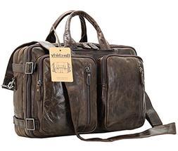 Berchirly Vintage Multifunction Genuine Leather Briefcase Ex