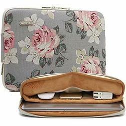 Water-Resistant Canvas 17 Inch Laptop Sleeve-White Rose Comp