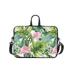 InterestPrint Watercolor Flamingo and Greenery Palm Tree Lea