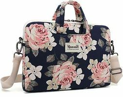 Canvaslife White Rose Patten Canvas Laptop Shoulder Messenge