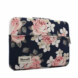 Canvaslife White Rose Patten Laptop Sleeve 14 Inch 14.0 Inch