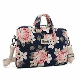white rose patten waterproof laptop shoulder messenger