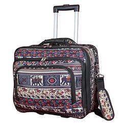 "World Traveler Women's Fashion Print Rolling 17"" Case Laptop"